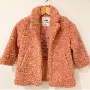 Zara Girls Cozy Pink Fleece Coat Size 6 116cm
